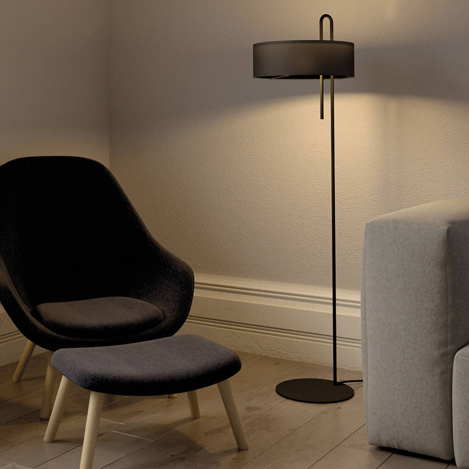 Tekstil-gulvlampe Clip, svart, høyde 150 cm