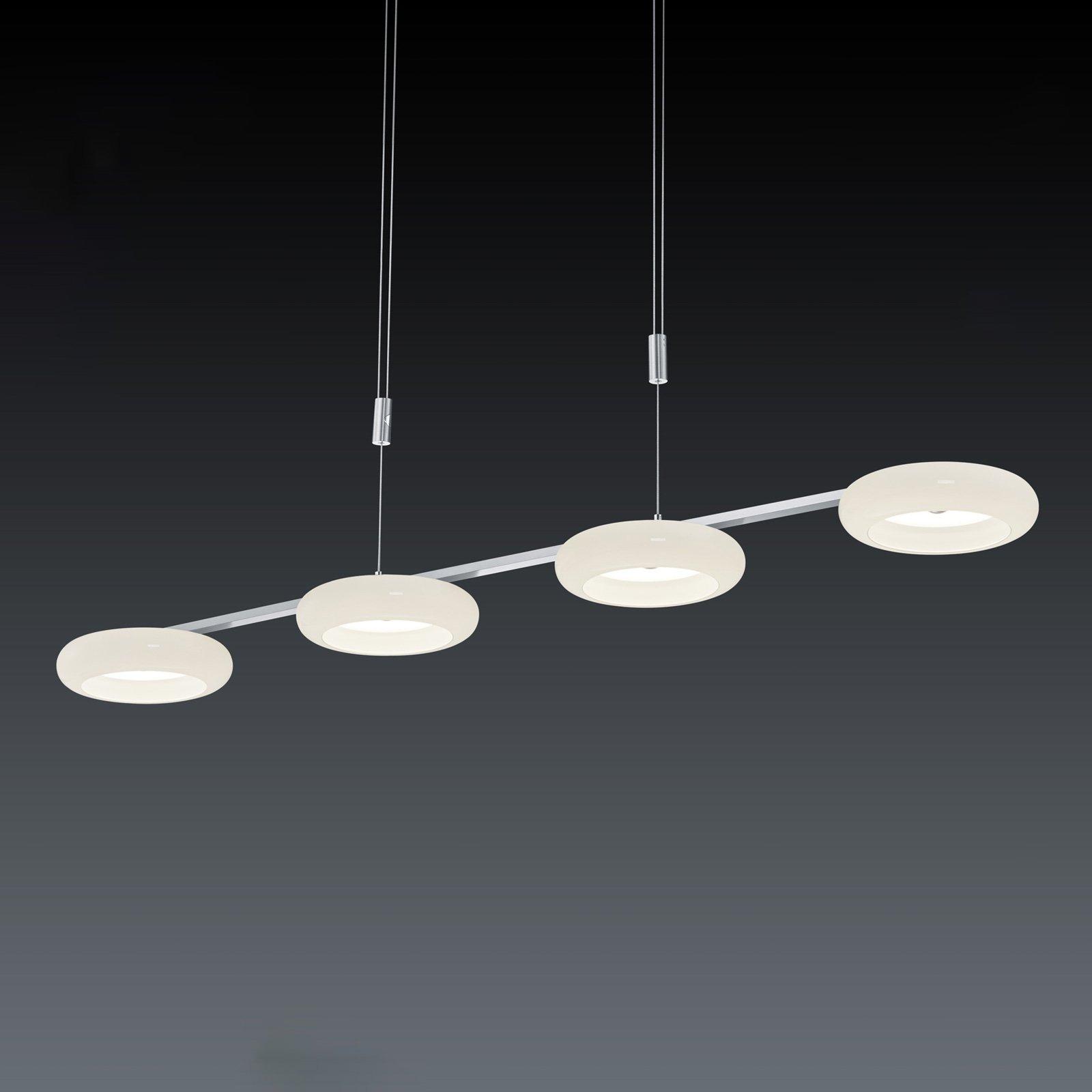 BANKAMP Centa hengelampe 4 lyskilder hvit/nikkel