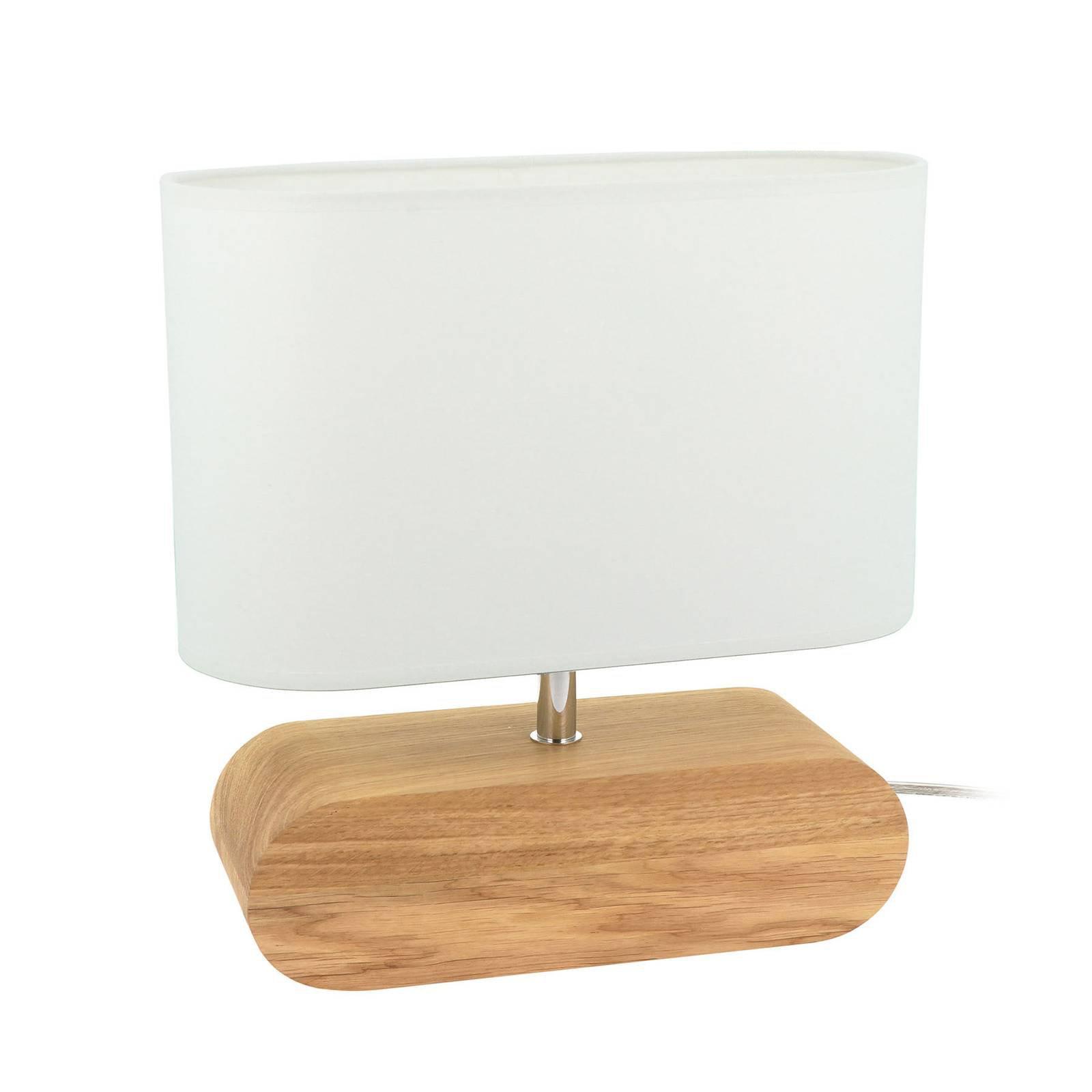 Bordlampe Cassy, eiketre, hvit stoffskjerm