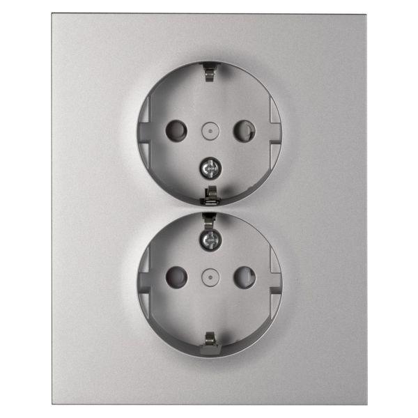 Elko Plus 2-V MJ Inf Skruv Seinäpistorasia Maadoitettu, 2-osainen alumiini