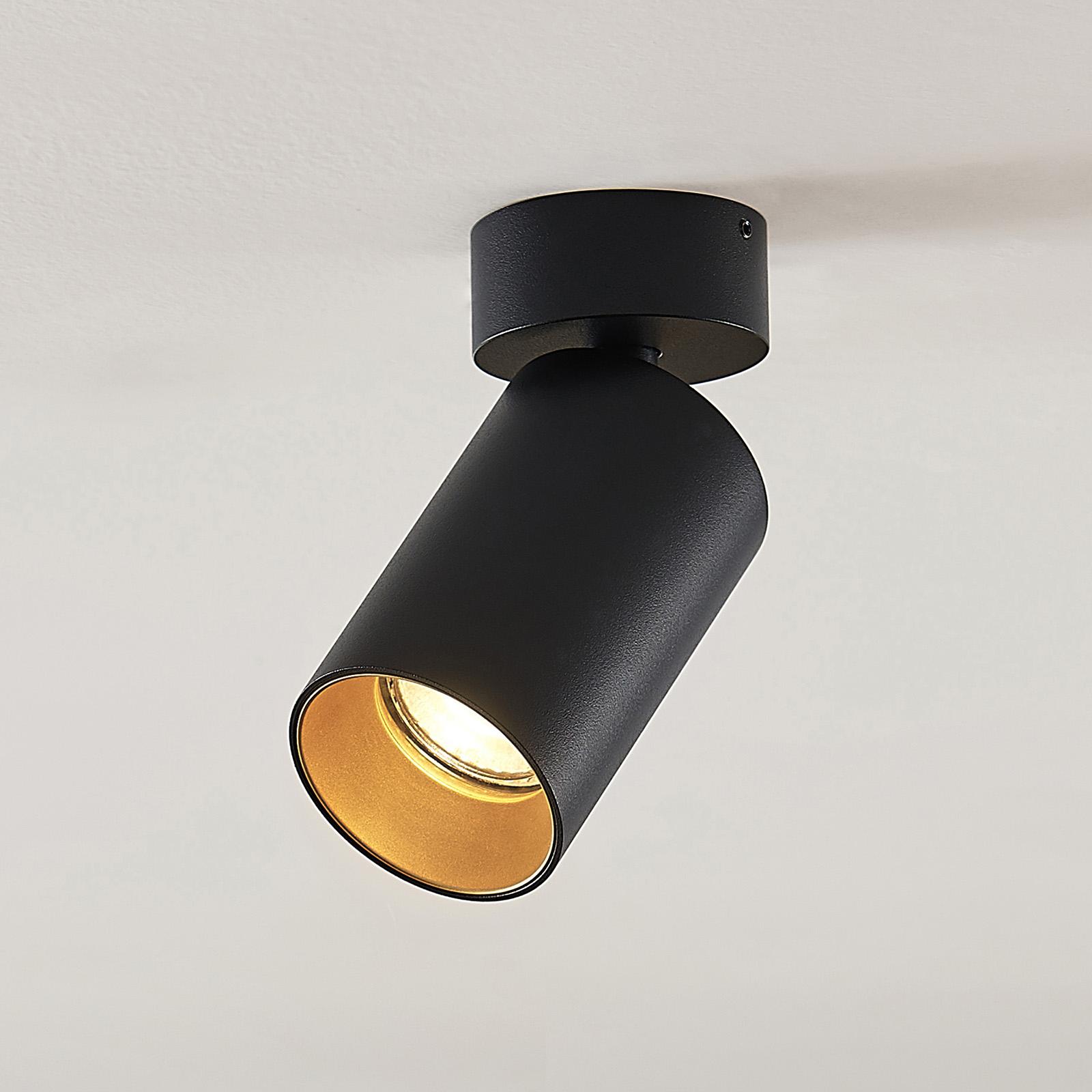 Arcchio Brinja-spotti pyöreä musta-kulta, 1 lamppu