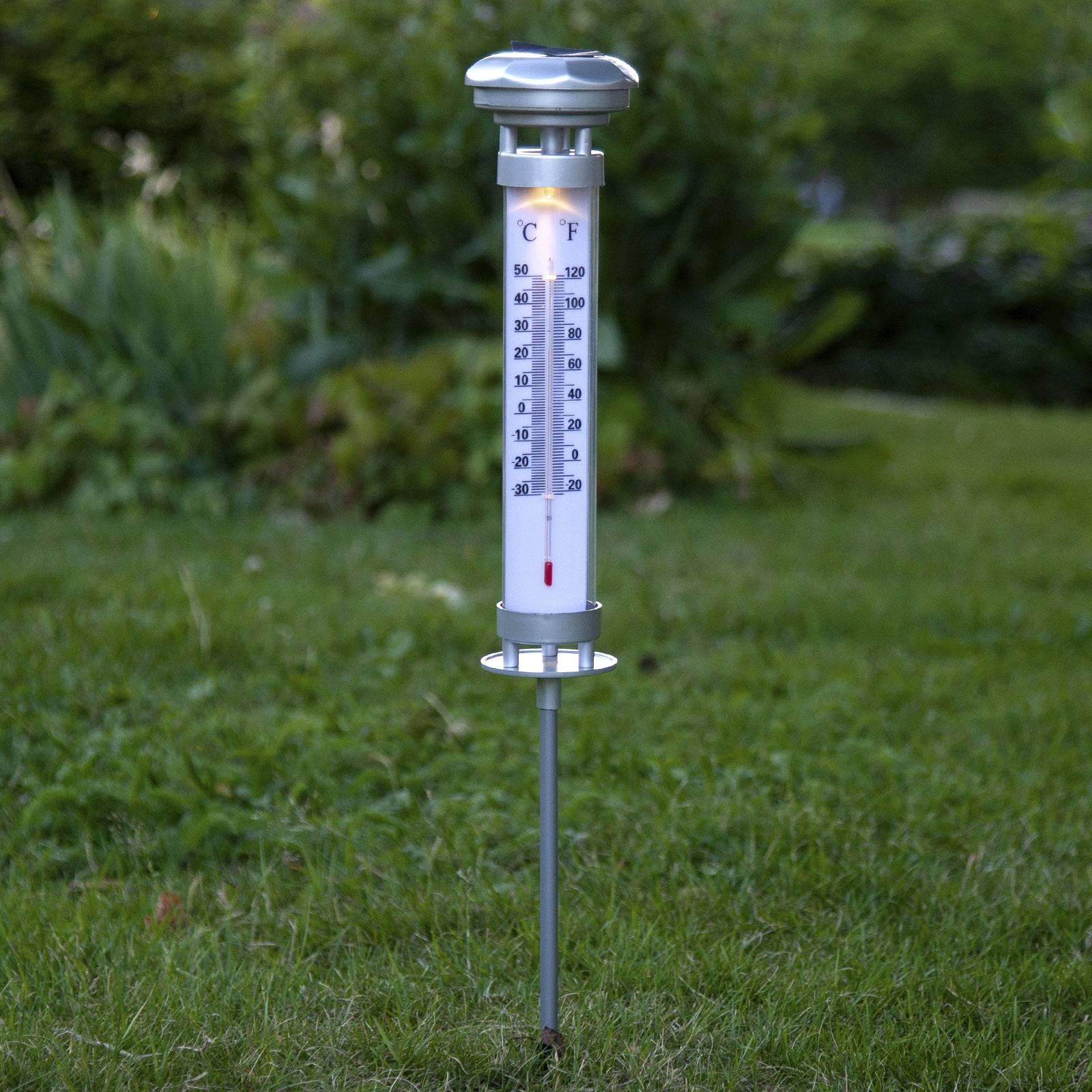Aurinkotoiminen Celsius-LED-valo ulkolämpömittari