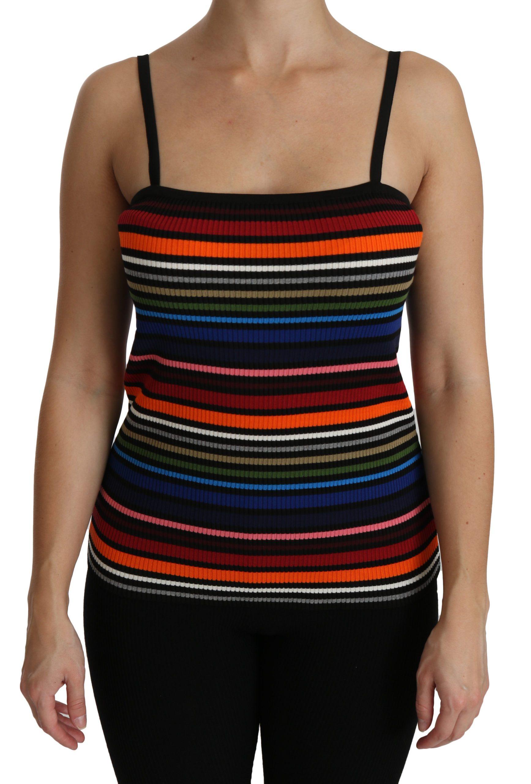 Black Striped Sleeveless Blouse Tank Cotton Top - IT44|L