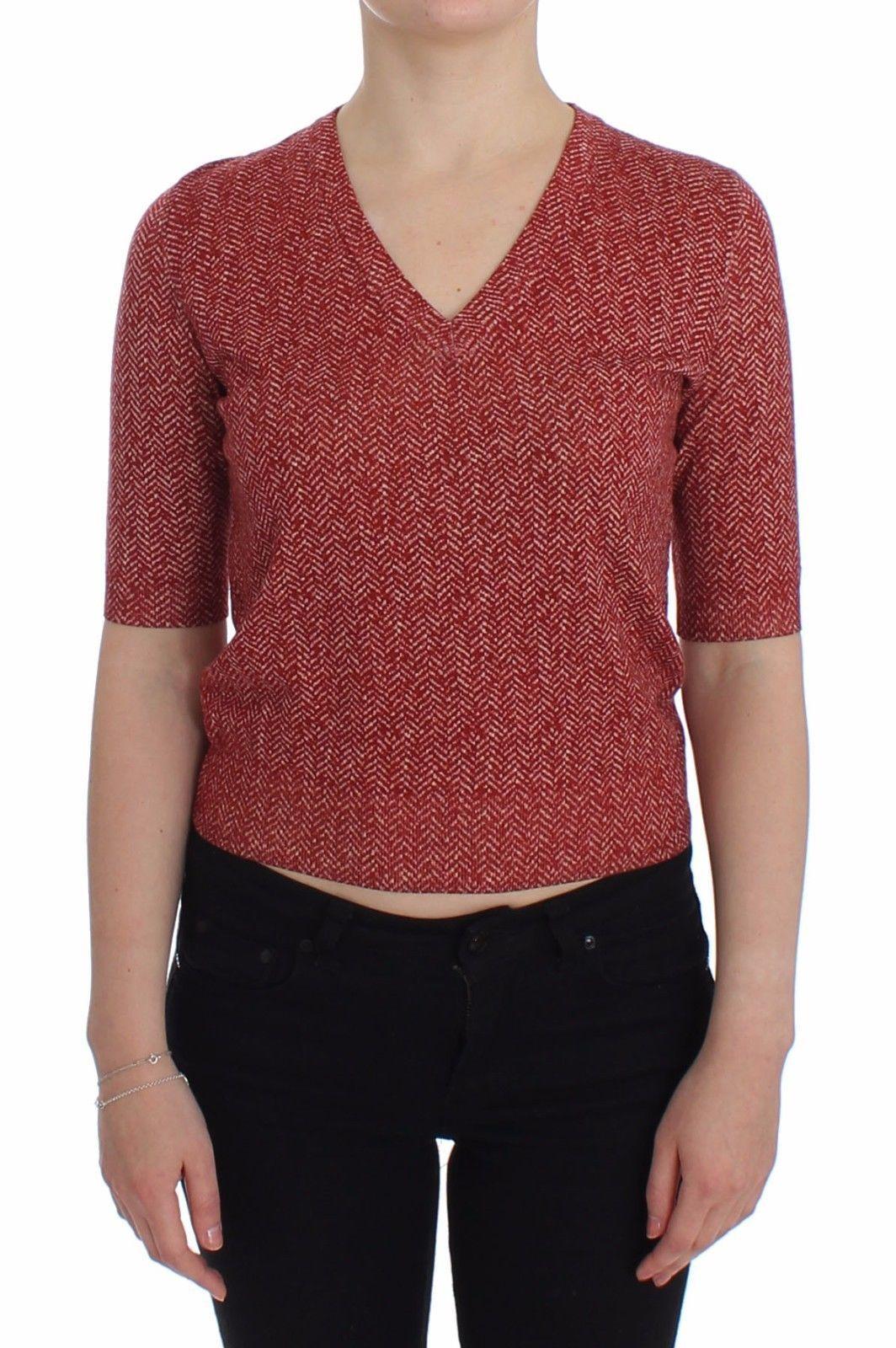 Dolce & Gabbana Women's Wool Tweed SS Sweater Red SIG13317 - IT44