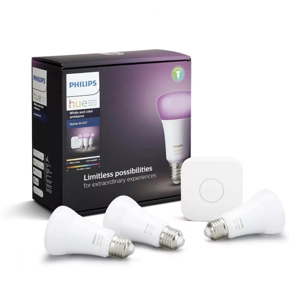 Philips Hue - 3xE27 + Bridge - Starter Kit - White and Color Ambiance