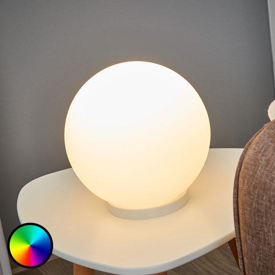 Pallonmuotoinen pöytävalaisin Rondo-C, LED RGBW