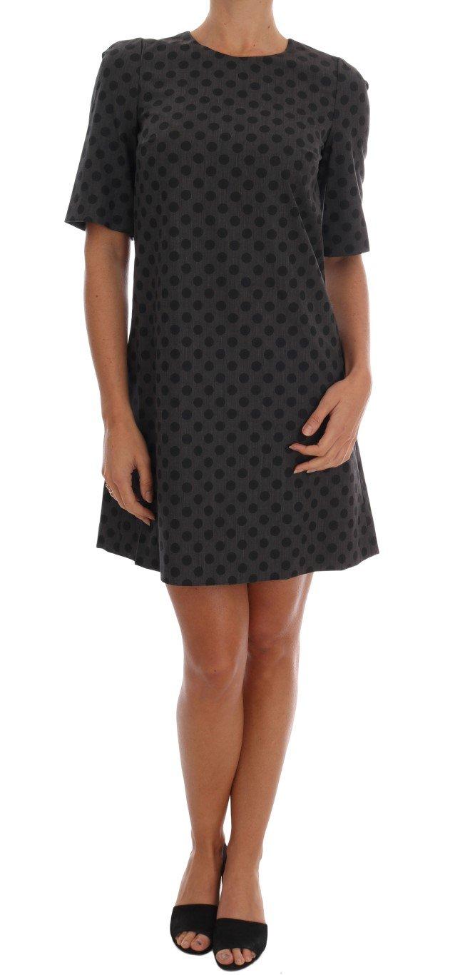 Dolce & Gabbana Women's Polka Dotted Wool Stretch Dress Gray DR1213 - IT38|XS