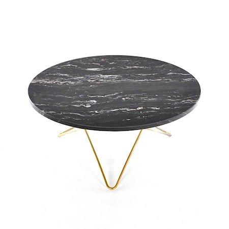 O Table Svart Marmor med Messingramme Ø80