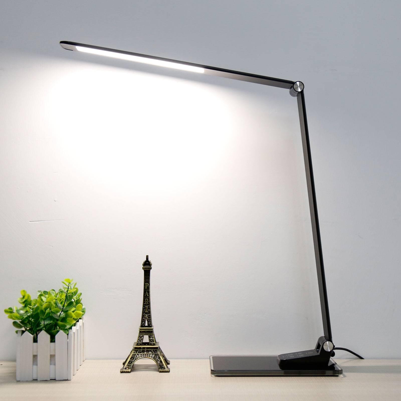 LED-työpöytälamppu Starglass lasijalustalla