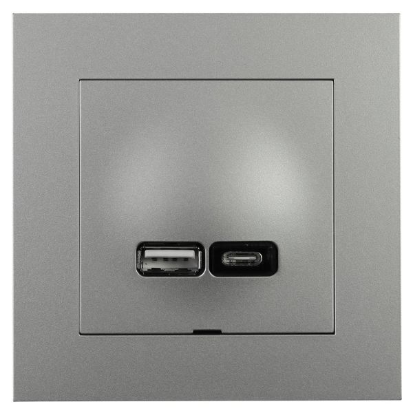 Elko EKO07081 Latausliitäntä USB A+C Plus Alumiini