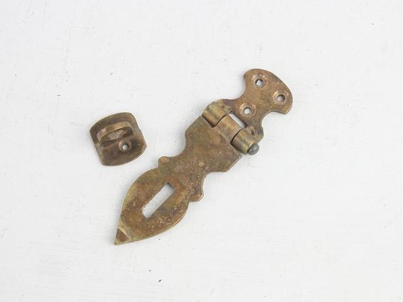 Medium Antique Style Brass Hasp And Staple Medium