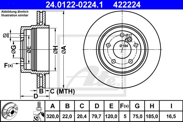 Jarrulevy ATE 24.0122-0224.1