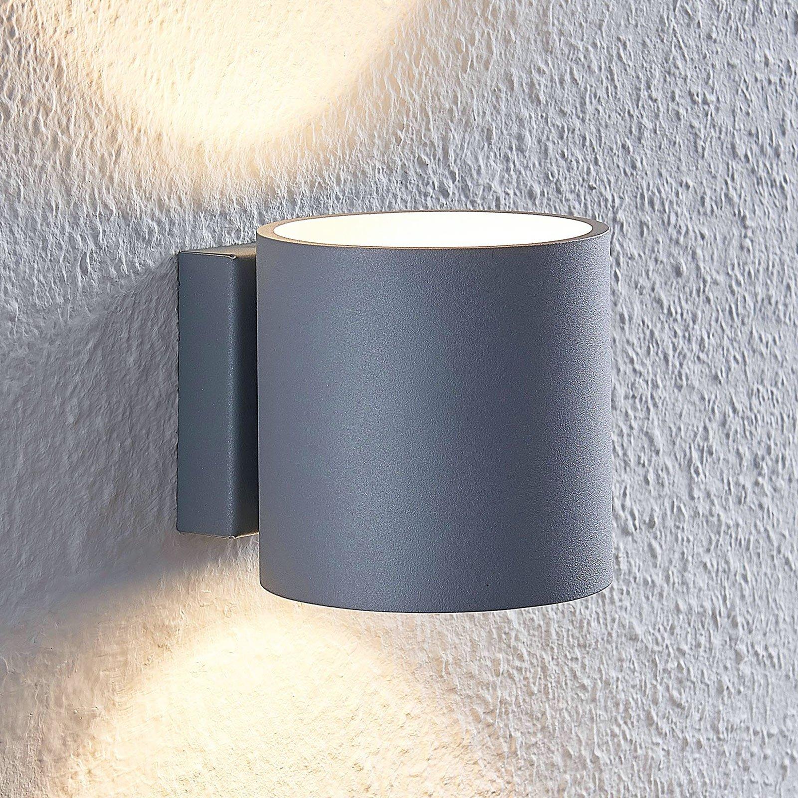 Lindby Mirza aluminium-vegglampe, rund, grå