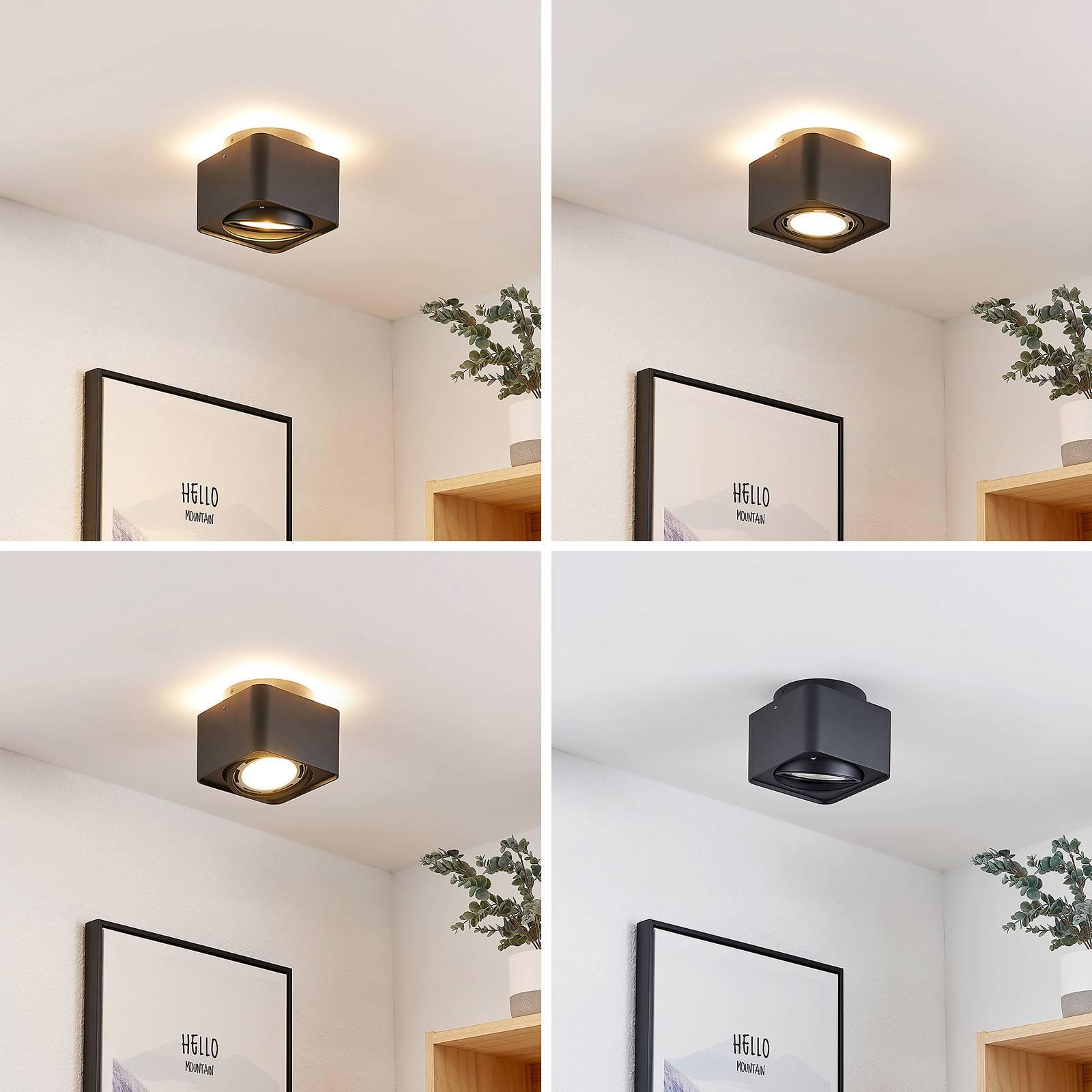 Arcchio Talima -LED-kattovalaisin, kulmikas, musta