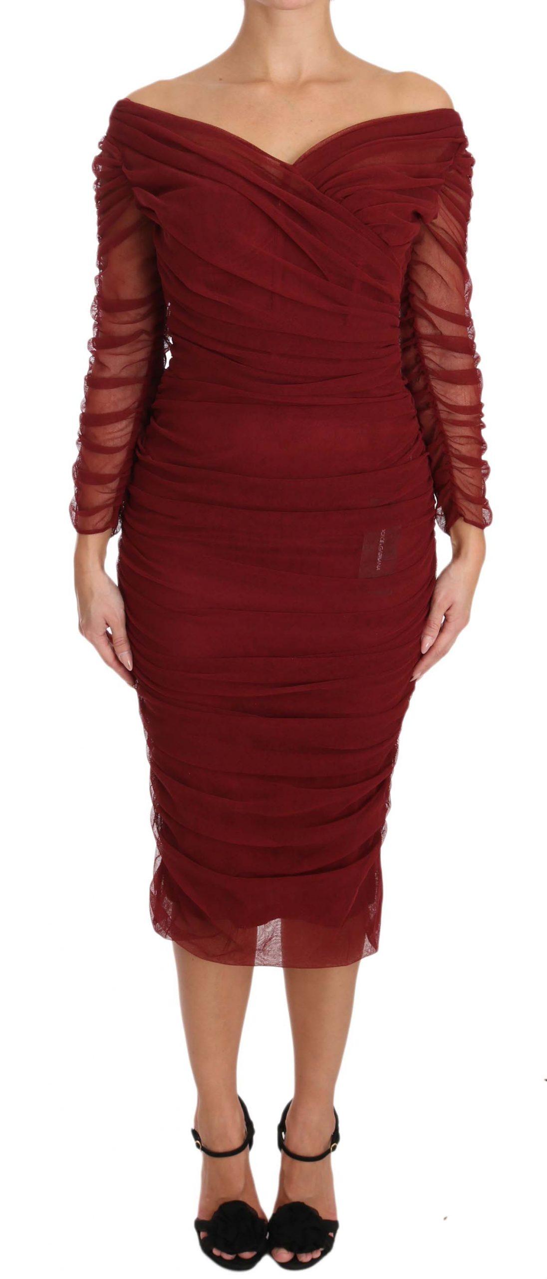 Dolce & Gabbana Women's Stretch Sheath Gown Dress Red DR1577 - IT50 | XXL