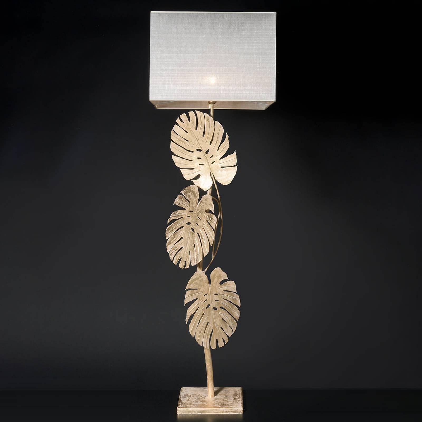 Imponerende gulvlampe Lizia med bladgull