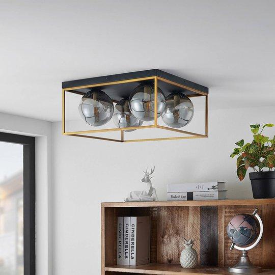 Lindby Josipa taklampe, bur, røykglass, 4 lys