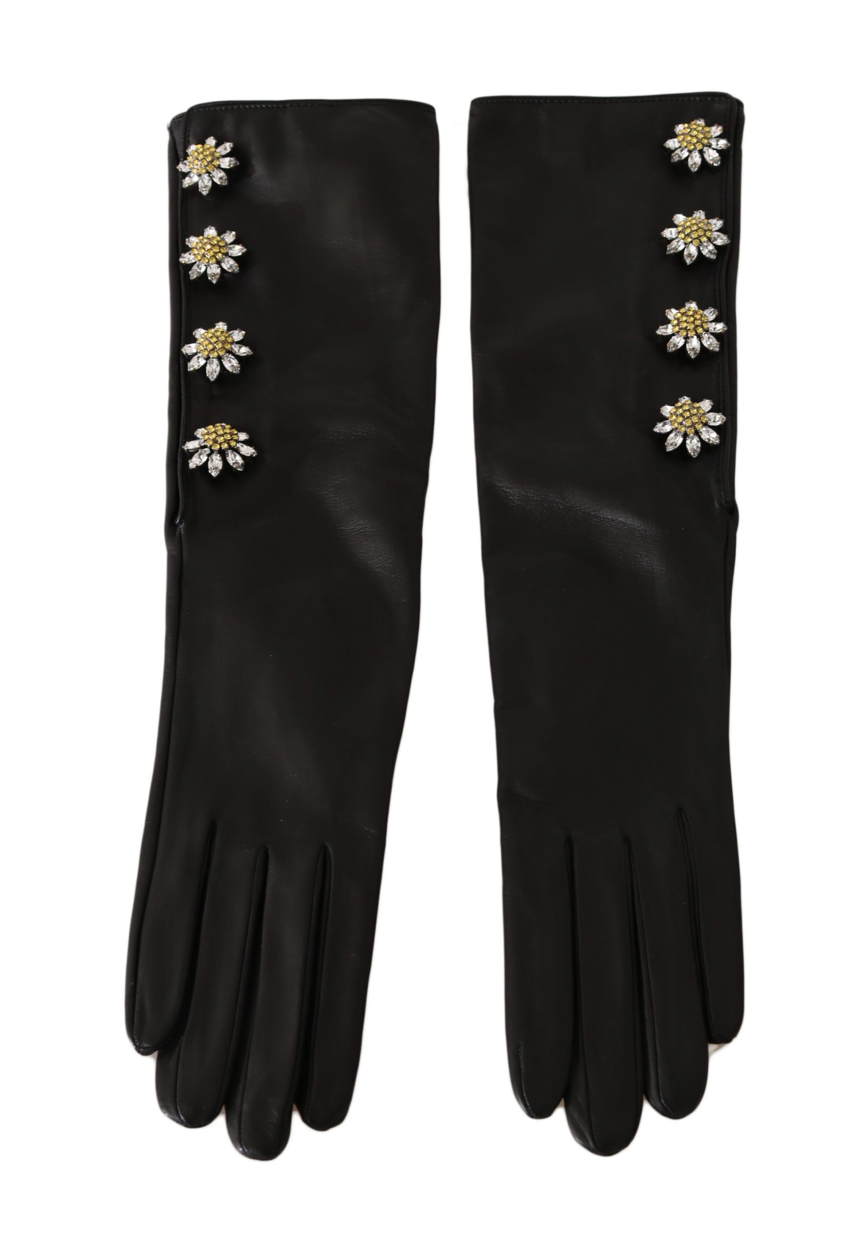 Dolce & Gabbana Women's Leather Crystal Elbow Gloves Black LB276 - 7.5 | S