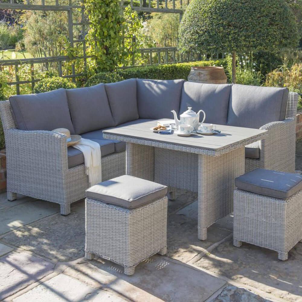 2021 Kettler Palma Mini Dining Corner Set With Slat Table – Whitewash