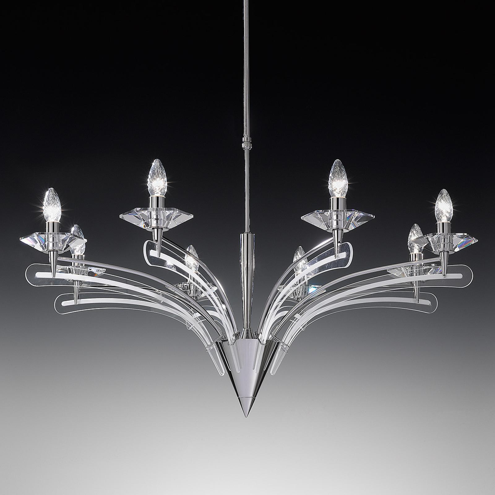 Kattokruunu ICARO, kristallilasi, 8 lamppua, kromi
