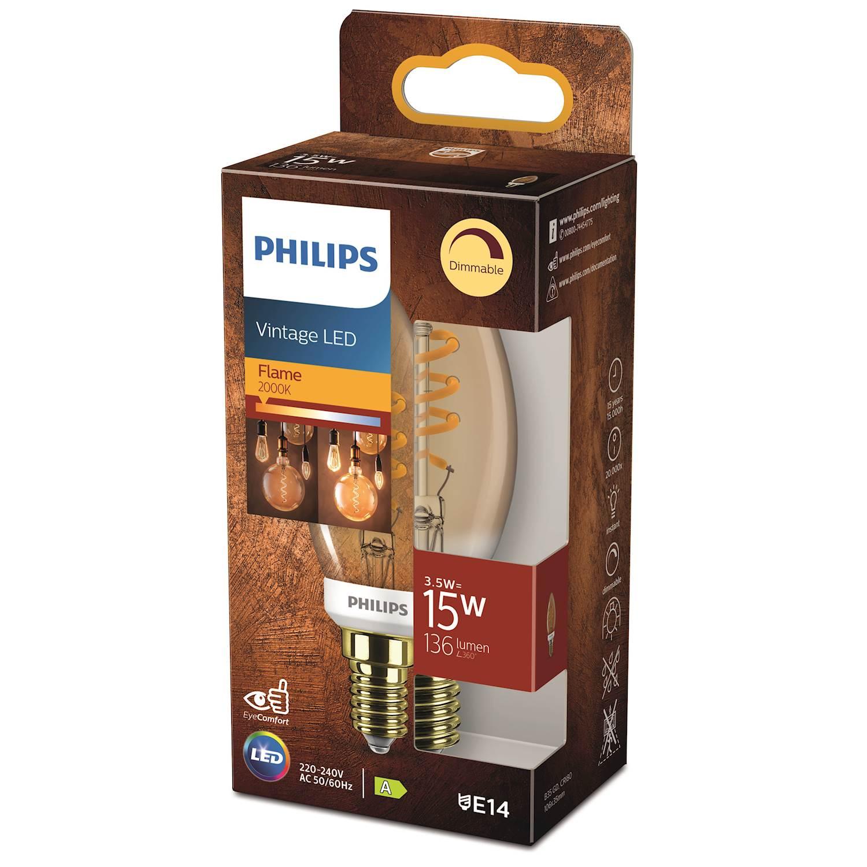 Philips LED Classic 15w kron e14 guld