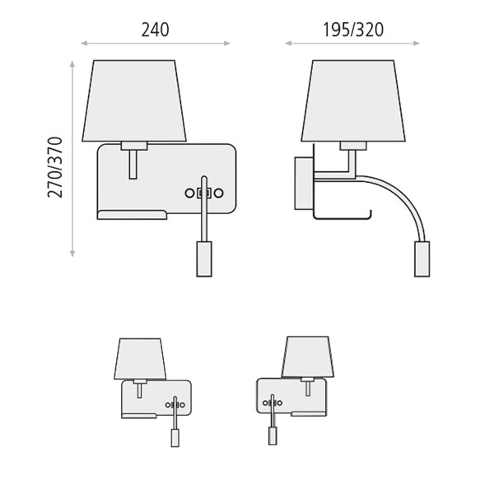 Seinälamppu Hold oikea, lukuvarsi ja USB-liitäntä