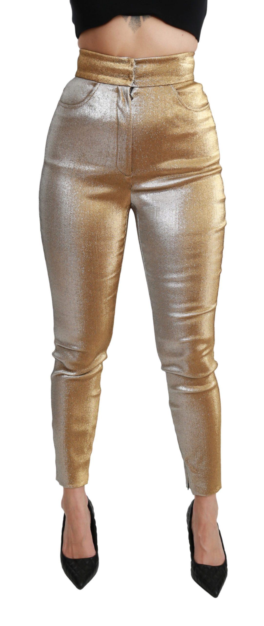 Dolce & Gabbana Women's Glittered Skinny High Waist Trouser Gold PAN70944 - IT40 S