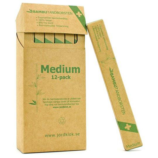 Bambutandborsten Ergonomisk Tandborste i bambu - Medium, 12-pack