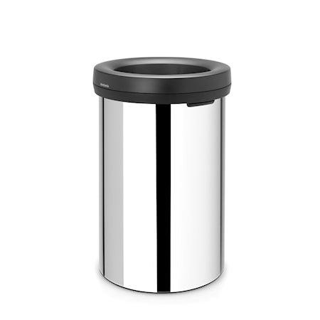 Open Top Bin, svart ring, ingen innerbøtte 60 L Blankbørstet Stål