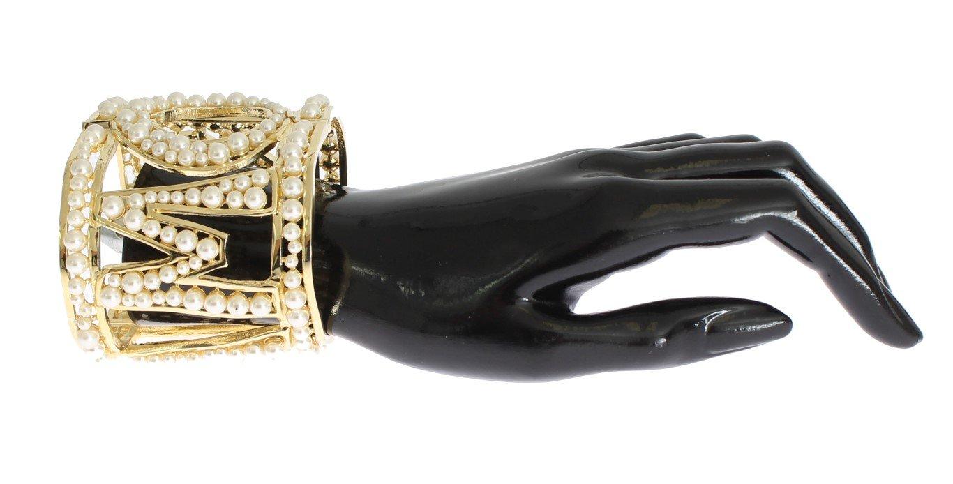Dolce & Gabbana Women's Brass Pearl AMORE Bracelet Gold SIG31734