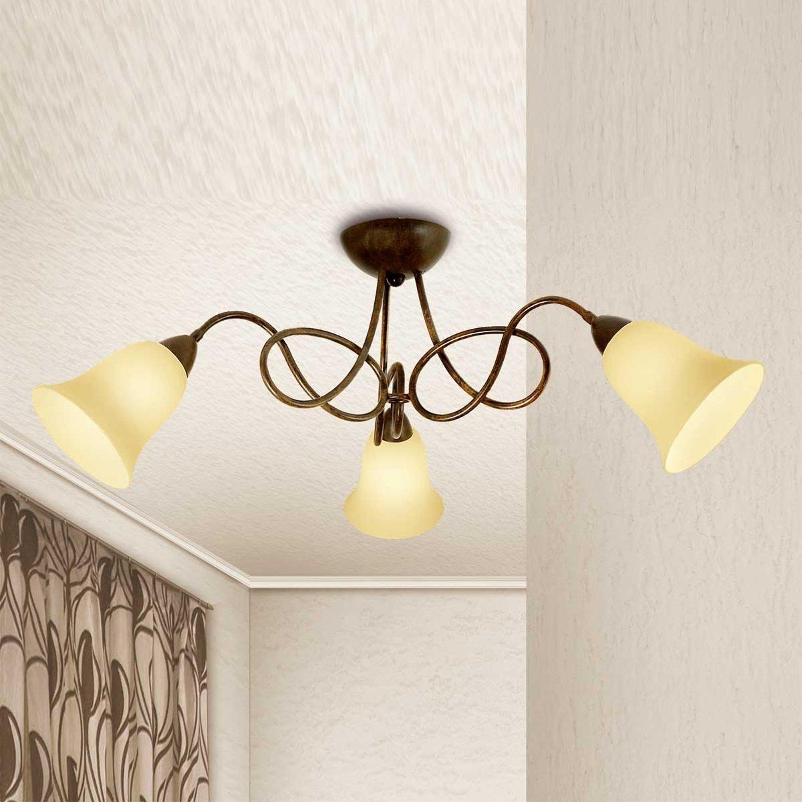 Rustikk taklampe Michele med tre lys