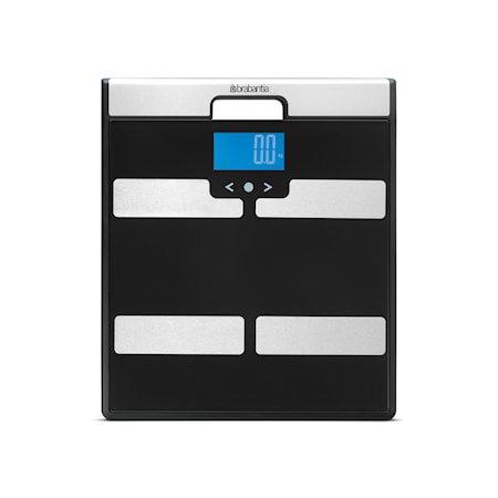 Baderomsvekt Kroppsanalyse med klokke 310x350 mm Svart/Mattbørstet Stål
