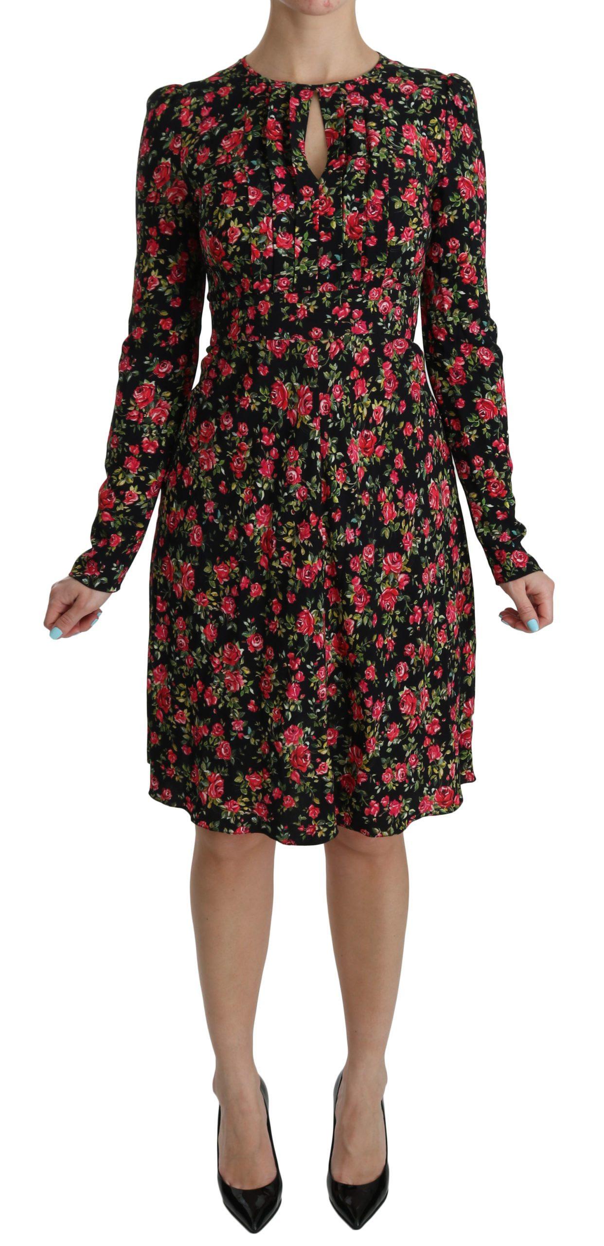 Dolce & Gabbana Women's Floral Longsleeve Knee Length Dress Black DR2088 - IT38|XS
