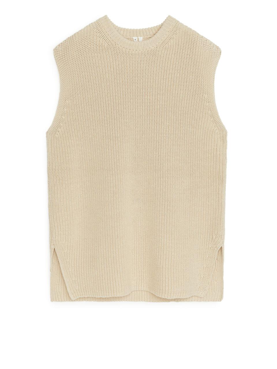 Knitted Vest - Beige