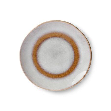 70's Dessert Tallerken Keramikk Hvit og Brun 17,5 cm