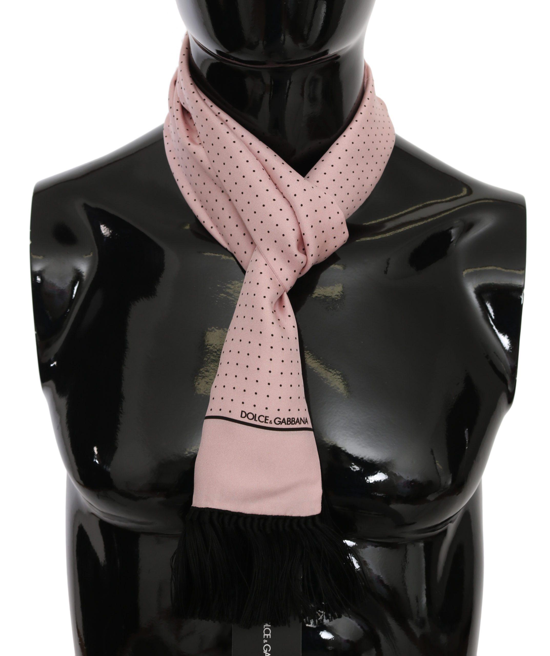 Dolce & Gabbana Men's Printed Fringe Wrap Silk Scarf Pink MS6079