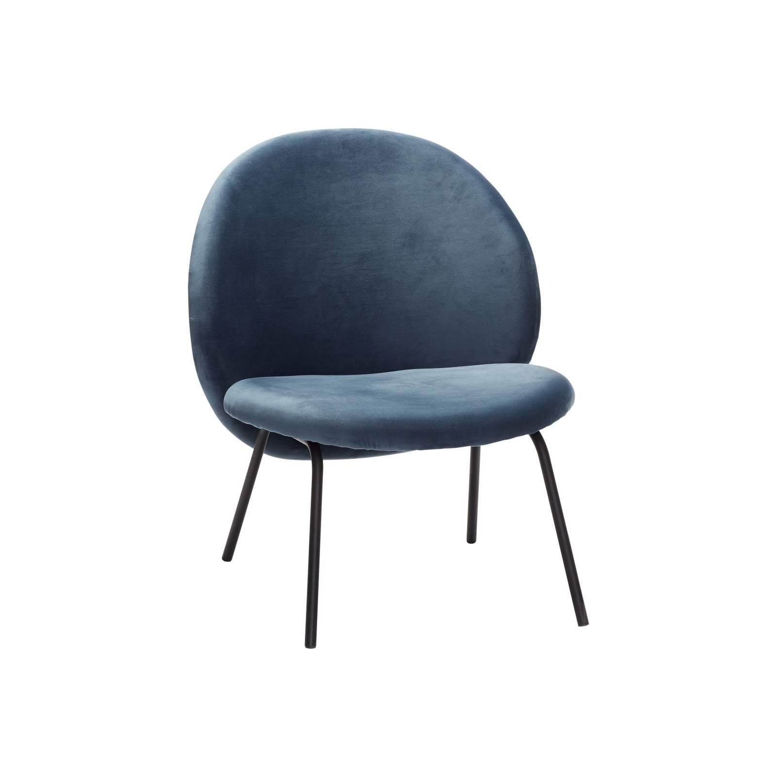 Lounge stol Boule blå sammet, Hubsch