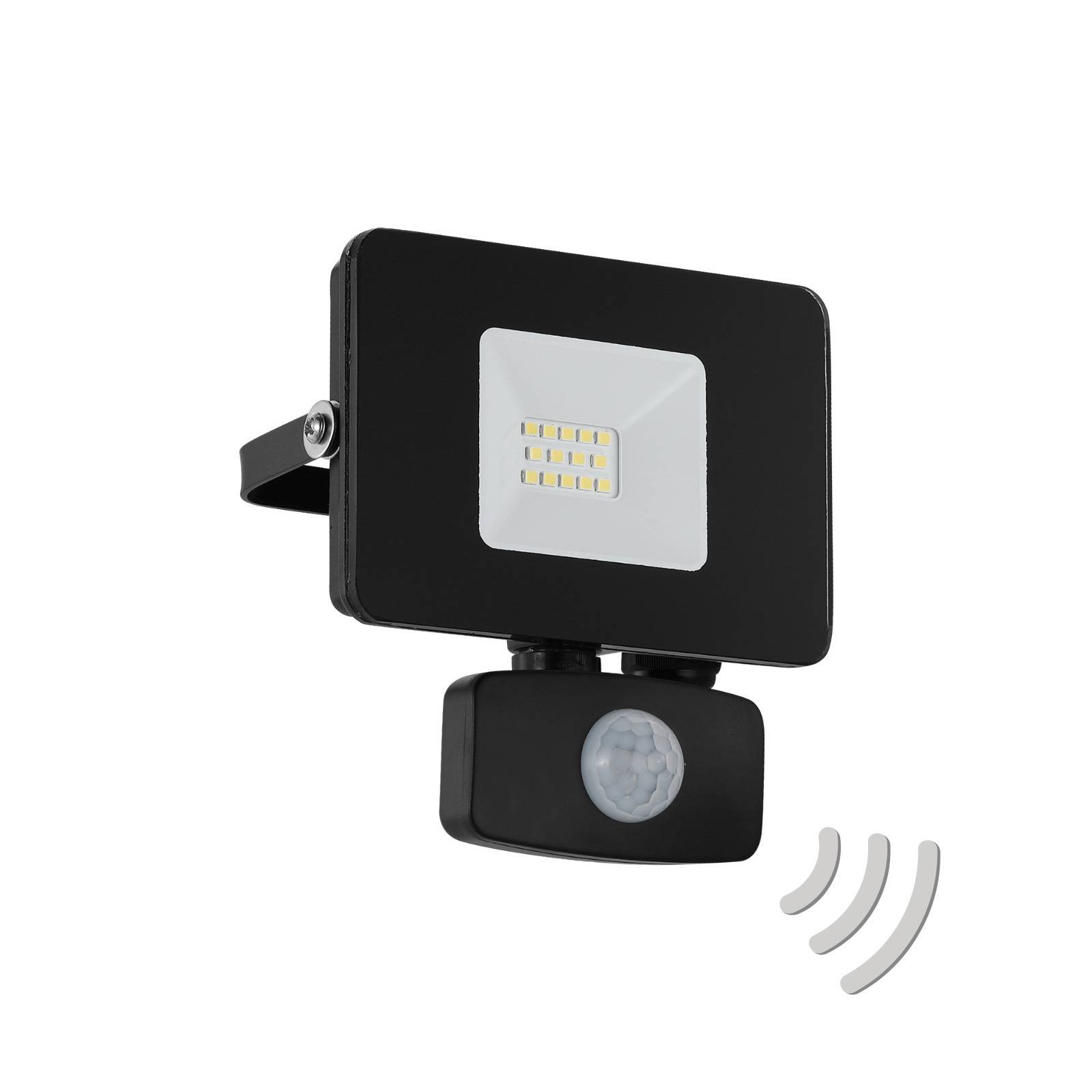 Utendørs LED-spot Faedo 3 med sensor, svart, 10 W