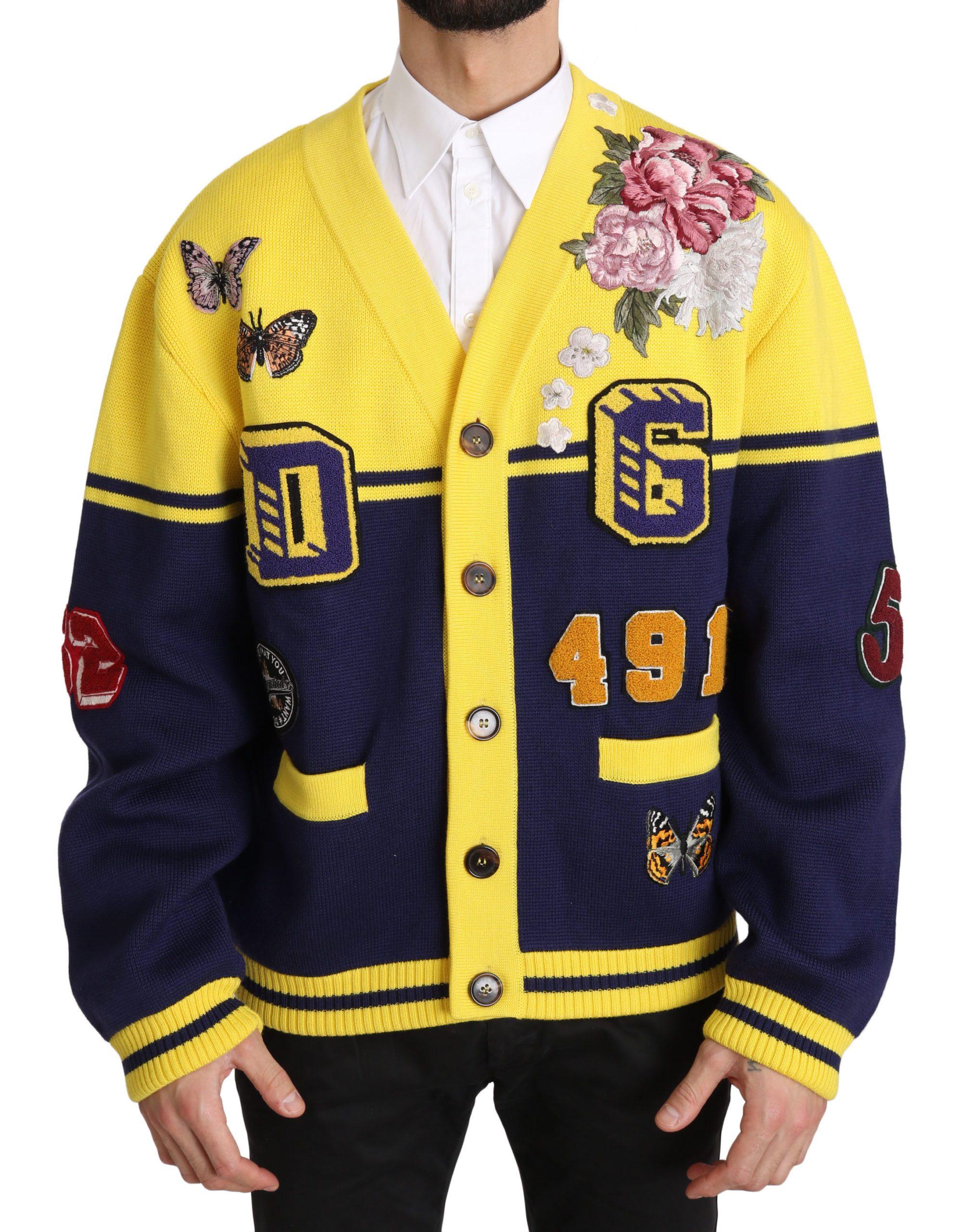 Dolce & Gabbana Men's Varsity Button Wool Sweater Yellow JKT2358 - IT50 | L