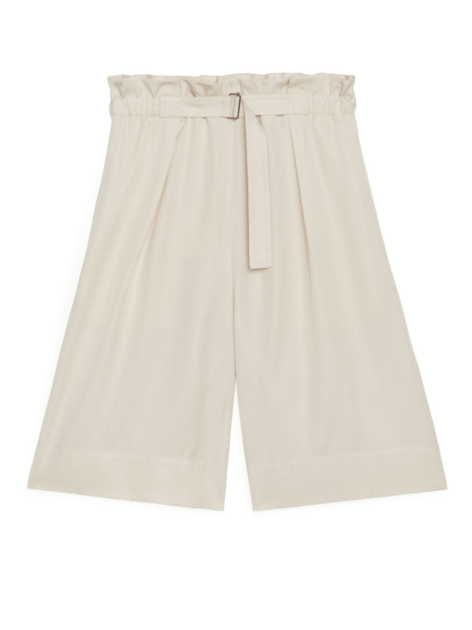 Belted Lyocell Shorts - Beige