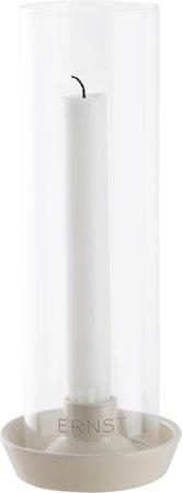 Lysestake Steintøy med glass – Hvit