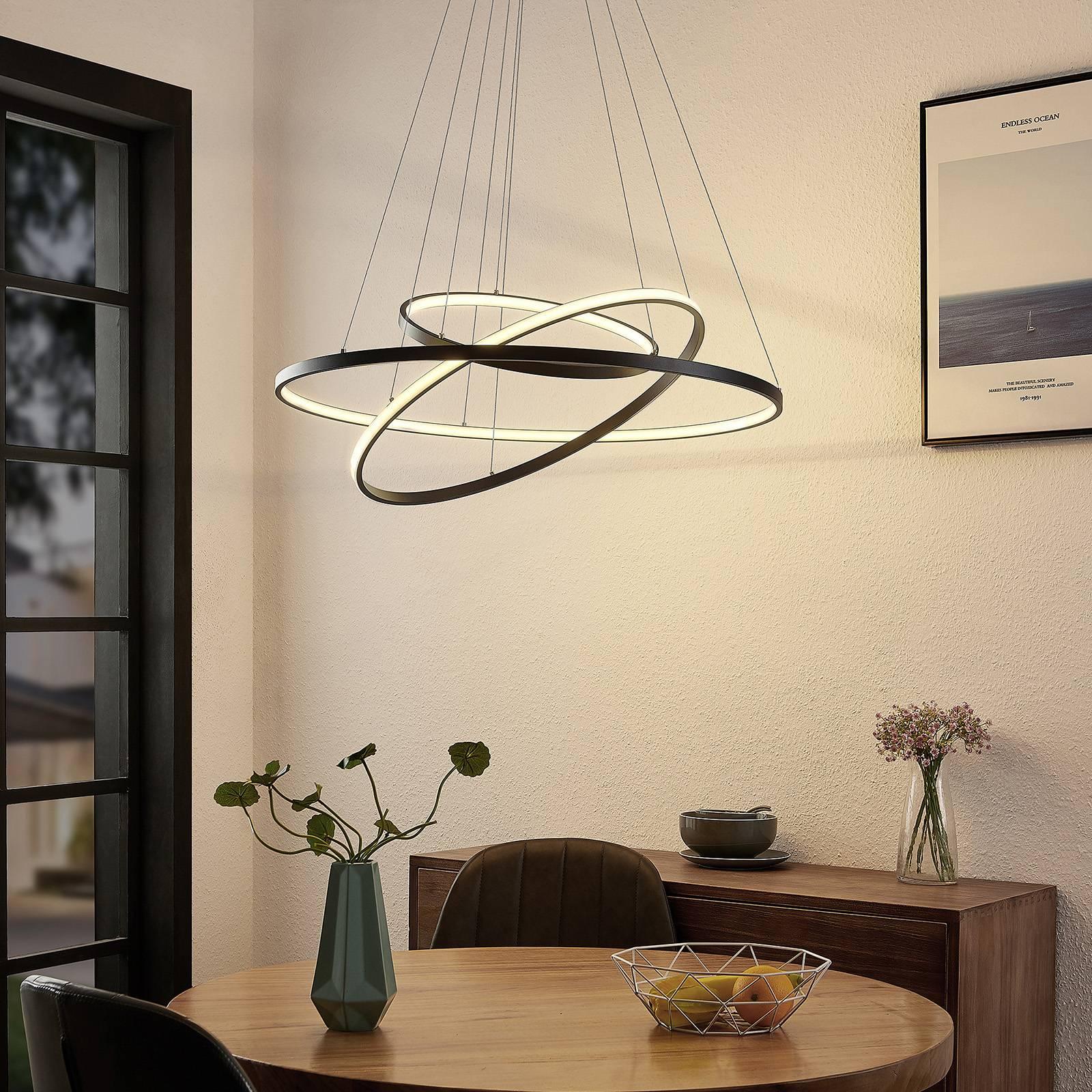Lucande Filippa -LED-riippuvalaisin 3 renkaalla