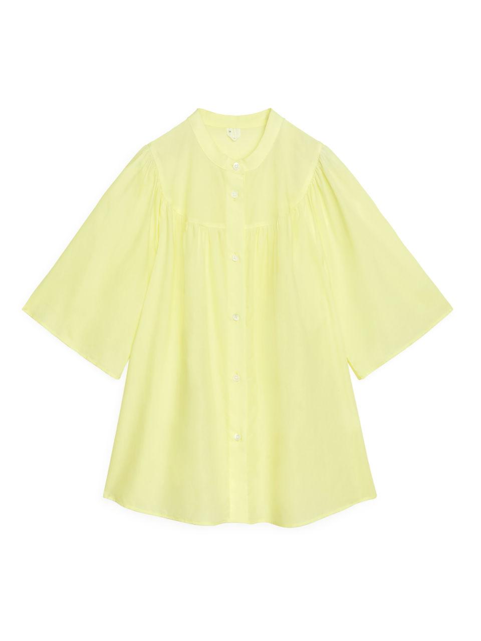 Gathered Lyocell Blouse - Yellow