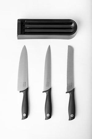 Tasty Knivblokk til kjøkkenskuffen + 3 kniver 39 cm