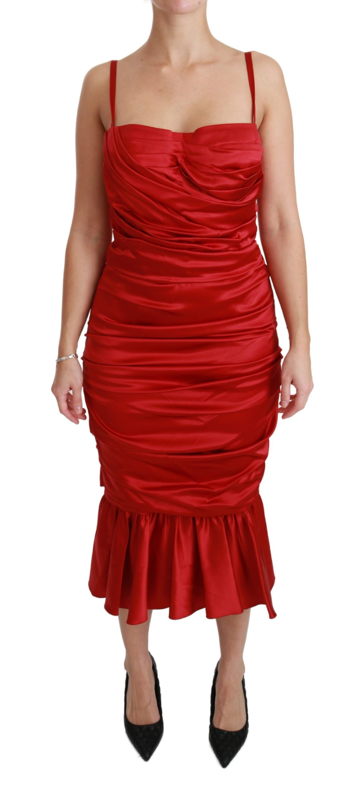 Dolce & Gabbana Women's Silk Stretch Mermaid Dress Red DR2459 - IT36 | XS