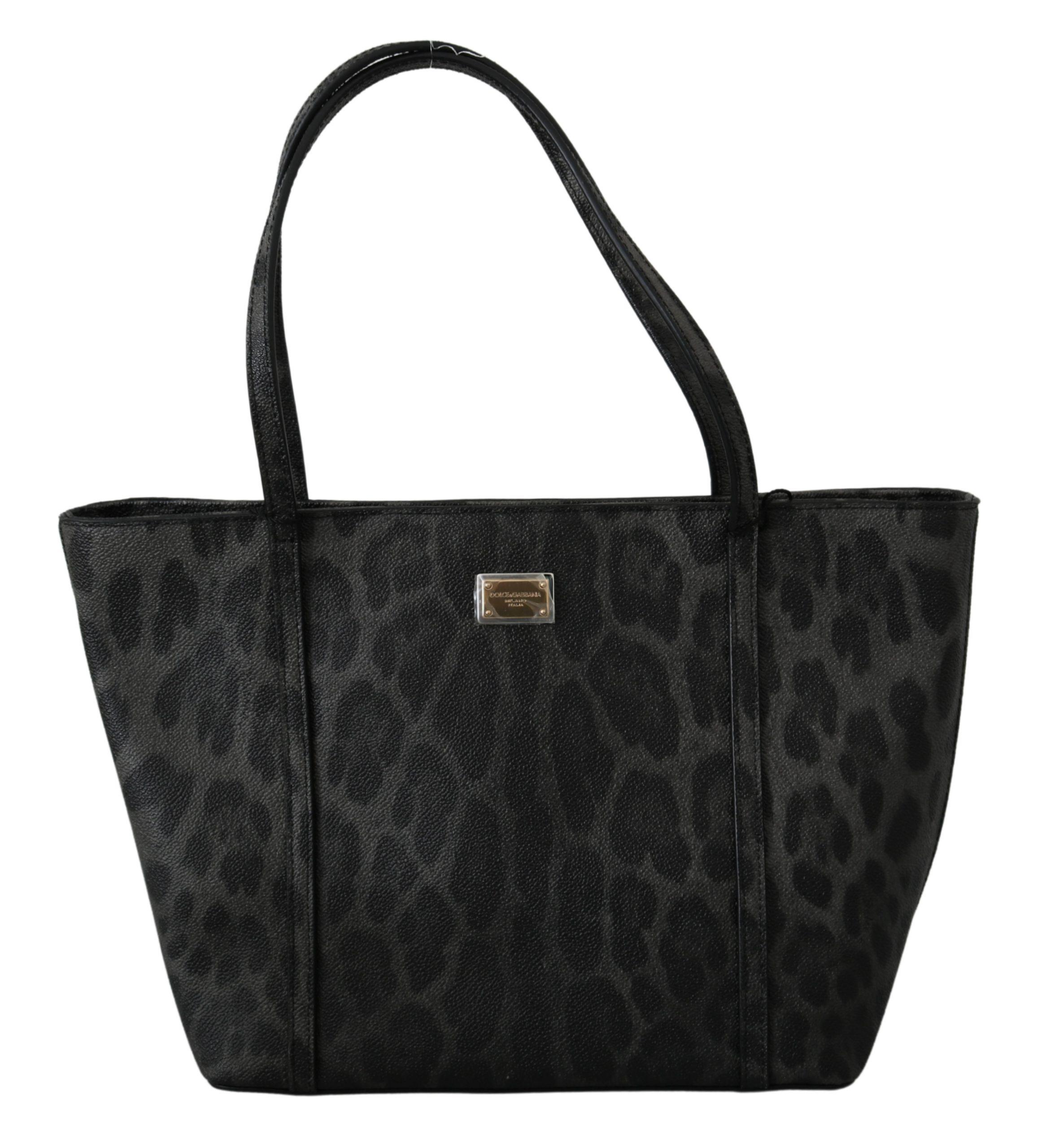 Dolce & Gabbana Women's Leopard Logo Tote Bag Black VAS9604