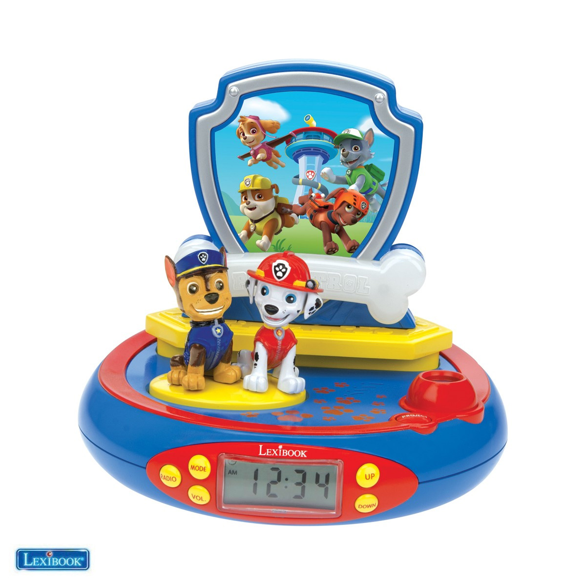 Lexibook - Paw Patrol 3D Chase Projector clock with Super Hero Sounds (RP500PA)
