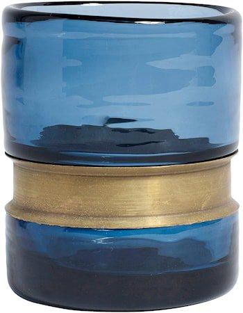 RING Vase/Lyslykt Glass Blå