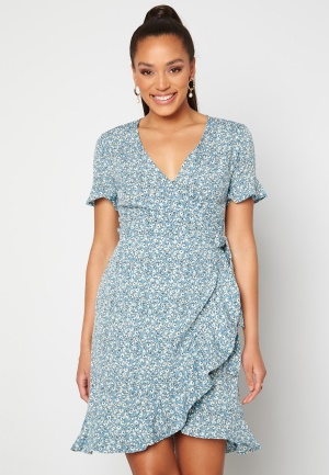 ONLY Olivia S/S Wrap Dress Dusk Blue / Flower 34
