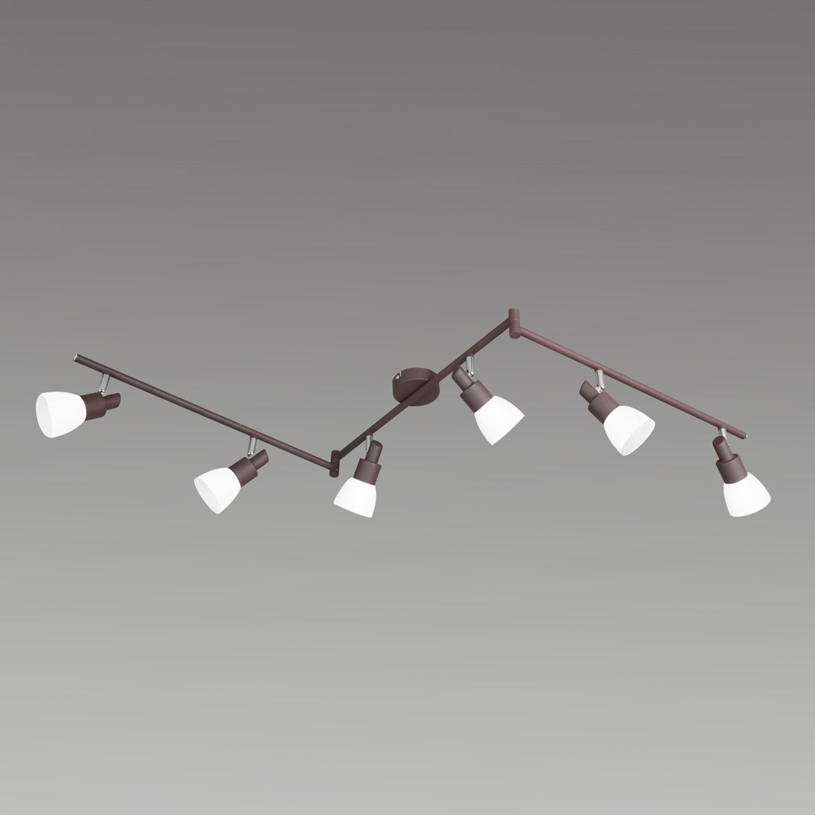 6-Lamppuinen LED-kattovalaisin Eve antiikkiruskea